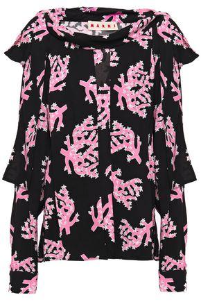 MARNI Bow-detailed pintucked printed crepe blouse