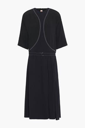 MARNI فستان متوسط الطول من الكريب المطرز مزوّد بحزام