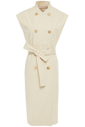 VANESSA BRUNO Double-breasted belted cotton-twill vest