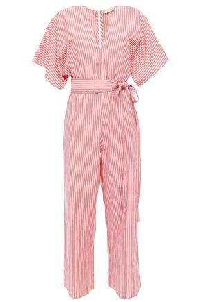 VANESSA BRUNO Lelie cropped belted striped cotton-gauze jumpsuit