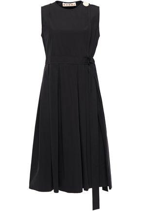 MARNI فستان قصير وواسع من قماش البوبلين القطني مزين بأزرار مع طيات