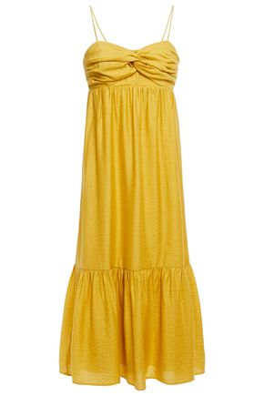 JOIE فستان متوسط الطول بتصميم متشابك من الأمام من قماش شانتونغ
