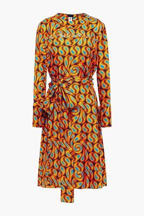 MARNI فستان من التويل الحريري المطبع برسومات