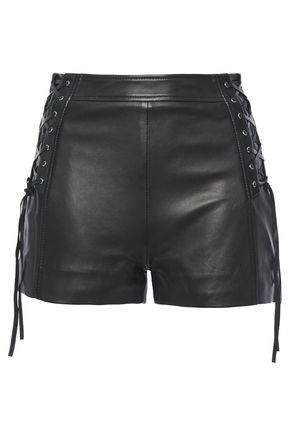 JUST CAVALLI Lace-up leather shorts