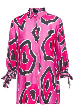JUST CAVALLI Printed satin-twill shirt