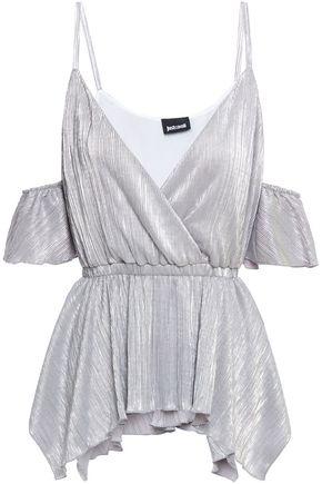 JUST CAVALLI Cold-shoulder wrap-effect metallic jersey top