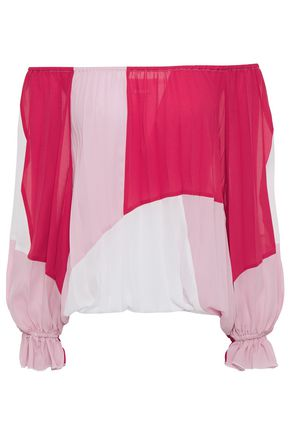 JUST CAVALLI Off-the-shoulder pleated color-block crepe top