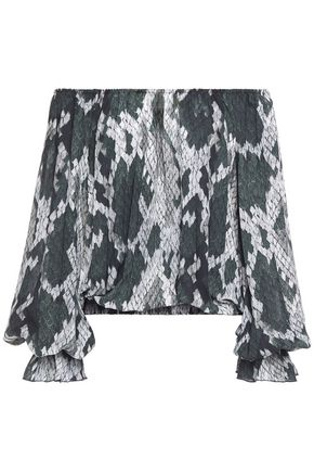 JUST CAVALLI Off-the-shoulder pleated snake-print crepe top