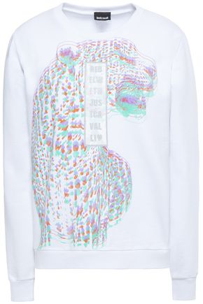 JUST CAVALLI Metallic printed French cotton-terry sweatshirt