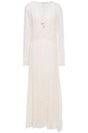 VANESSA BRUNO Jelyssa tassel-trimmed embroidered georgette midi dress