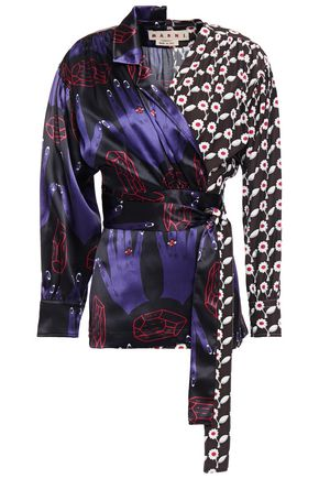 MARNI Printed satin and shell wrap blouse