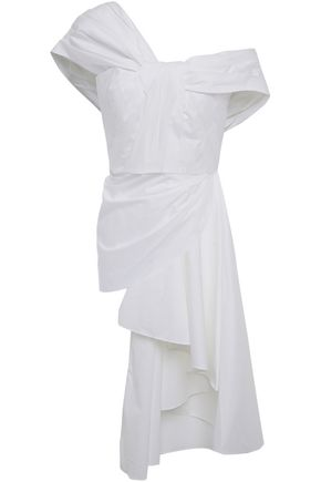 "JOHANNA ORTIZ توب ""شانغري لا"" بتصميم منسدل ومكشوف الكتفين من قماش البوبلين القطني المرن"
