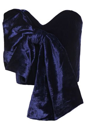 JOHANNA ORTIZ Las Meninas strapless cropped bow-embellished velvet bustier top