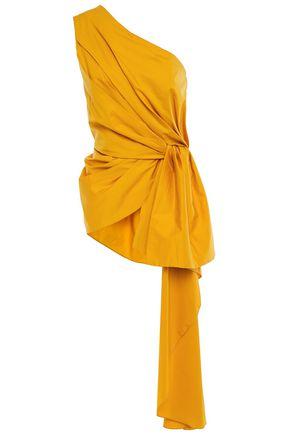 JOHANNA ORTIZ Ancient Sun one-shoulder draped stretch cotton-poplin top