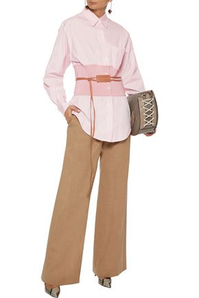 Victoria Beckham Stretch Knit-paneled Cotton-poplin Shirt In Baby Pink