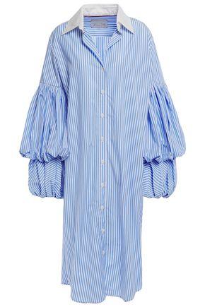 JOHANNA ORTIZ La Herencia gathered striped cotton-poplin shirt dress