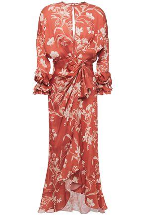 """JOHANNA ORTIZ فستان متوسط الطول """"بوتانيكال غاردنز"""" بتصميم منسدل من قماش كادي الحريري المطبع بالورود"""