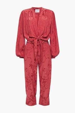JOHANNA ORTIZ Fanfare cropped tie-front floral-jacquard jumpsuit