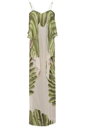 """JOHANNA ORTIZ فستان طويل """"هولي إيرث"""" من الشيفون الحريري المطبع برسومات معقود"""