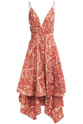 """JOHANNA ORTIZ فستان متوسط الطول """"كاكاتوا"""" غير متماثل من قماش البوبلين القطني المطبع بالورود"""