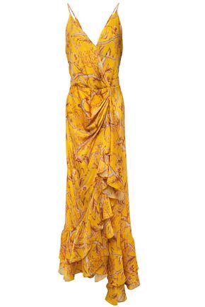 "JOHANNA ORTIZ فستان طويل ""ميلاغرو دي مييل"" بتصميم ملتفّ من قماش كريب دي شين الحريري المطبع بالورود"