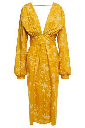 """JOHANNA ORTIZ فستان متوسط الطول """"سان برناردو ديل فيينتو"""" من قماش البوبلين القطني المطبع بالورود مع أجزاء مقصوصة"""