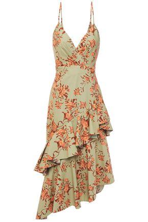 """JOHANNA ORTIZ فستان متوسط الطول """"رابسودي أورينتال"""" غير متماثل من قماش البوبلين القطني المطبع بالورود"""