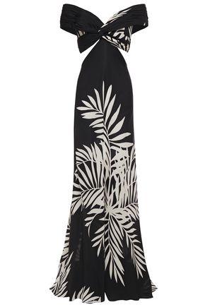 "JOHANNA ORTIZ فستان طويل ""بالما نيغرا"" مكشوف الكتفين من الشيفون الحريري المطبع برسومات"