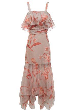 """JOHANNA ORTIZ فستان متوسط الطول """"هولا دانس"""" من الأورغنزا الحريري المطبع بالورود مع كشكش"""