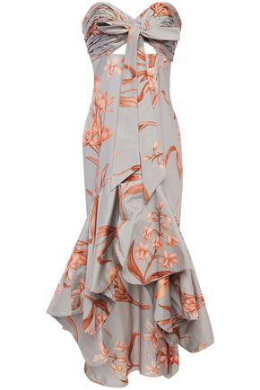 JOHANNA ORTIZ River Of A Life strapless cutout floral-print cotton-blend sateen dress