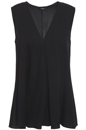 THEORY Draped stretch-silk top