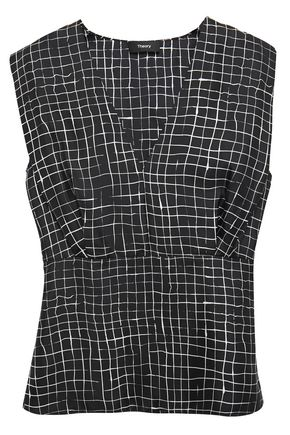 THEORY Gathered checked silk-twill blouse