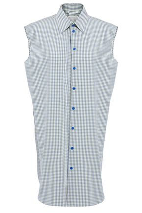 MAISON MARGIELA Silver-tone shell-trimmed checked cotton-poplin shirt dress