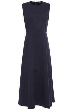 THEORY Flared stretch cotton-poplin midi dress