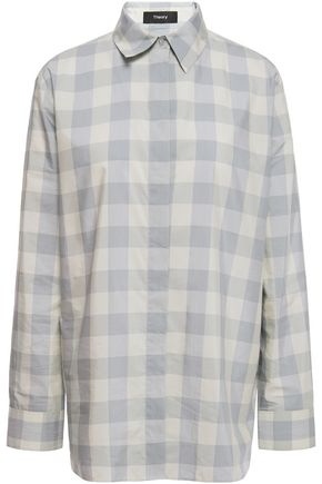 THEORY Checked cotton and silk-blend poplin shirt