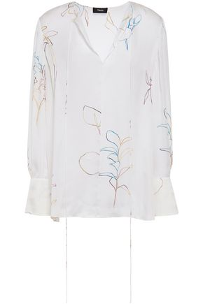 THEORY Printed silk crepe de chine top
