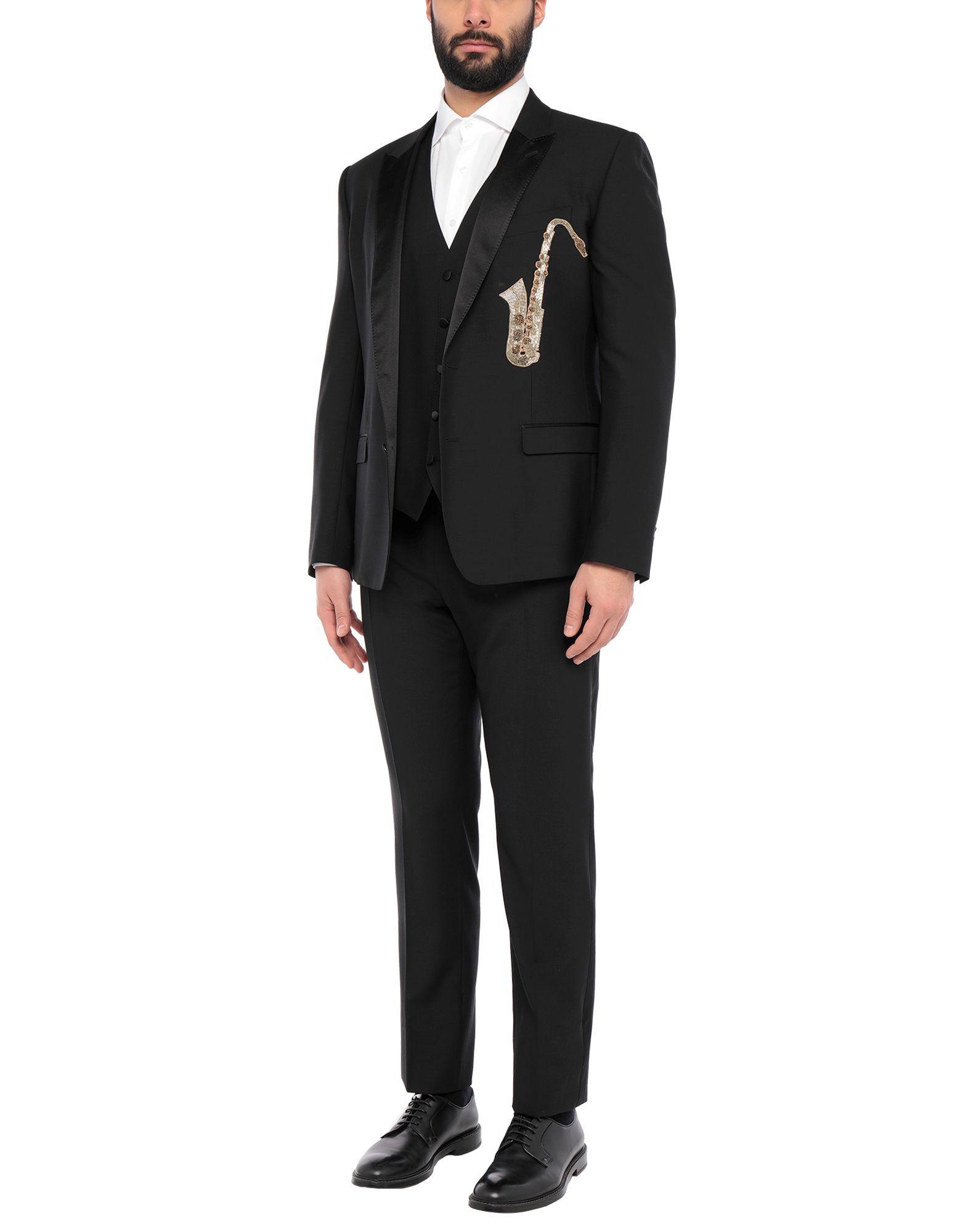 《セール開催中》DOLCE & GABBANA メンズ スーツ ブラック 46 バージンウール 90% / シルク 7% / ポリエステル 3% / ガラス
