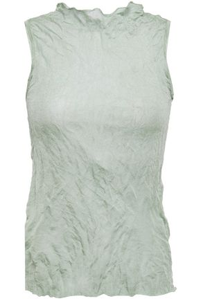 THEORY Crinkled crepe-jersey top