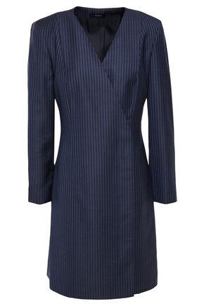 THEORY Striped wool-jacquard mini wrap dress