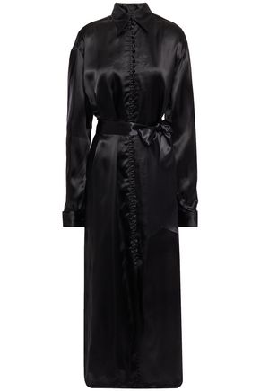 MM6 MAISON MARGIELA Button-detailed satin-twill maxi shirt dress