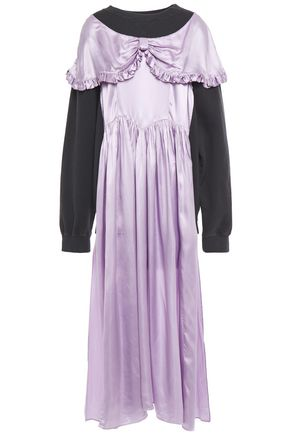 MM6 MAISON MARGIELA Gathered satin-twill and French cotton-terry top
