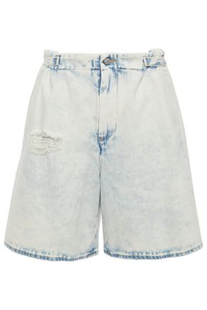 MM6 MAISON MARGIELA Bleached distressed denim shorts