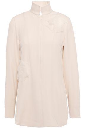 AKRIS Organza-trimmed silk crepe de chine blouse