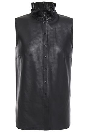 AKRIS Ruffle-trimmed perforated leather shirt