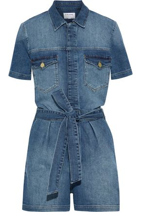 FRAME Belted pleated denim playsuit