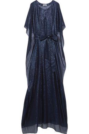 OSCAR DE LA RENTA Belted silk-blend lamé kaftan