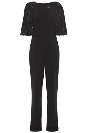 BADGLEY MISCHKA Layered embellished lace-trimmed stretch-cady jumpsuit