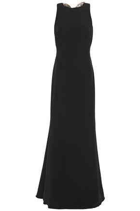 BADGLEY MISCHKA Bow-embellished sequined crepe gown