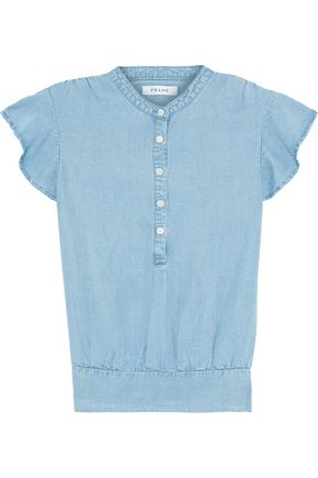 FRAME Shirred Tencel and linen-blend chambray top