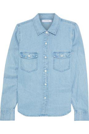 FRAME Tencel and linen-blend chambray shirt
